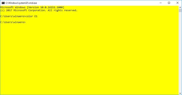 Default Cmd Colors Windows 10 Build 16251