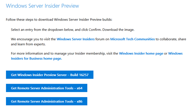 Download Windows Server Insider Preview 16257