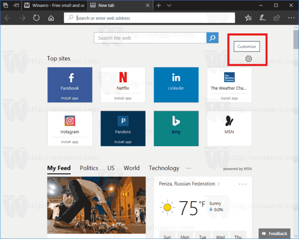 Edge Customize Button New Tab Page