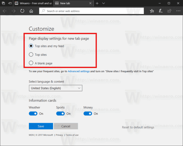 customize the new tab page in microsoft edge
