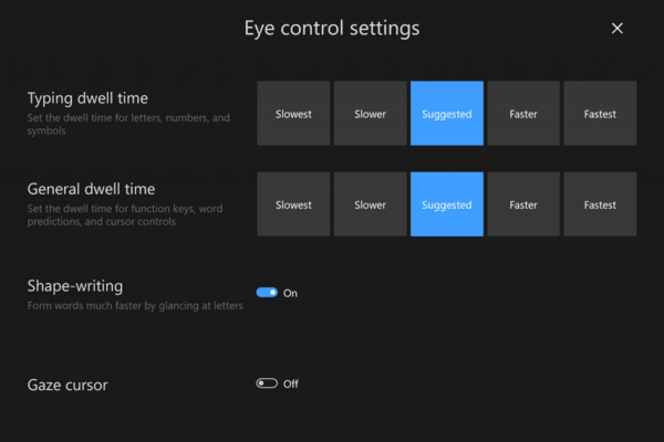 Eye Control Settings