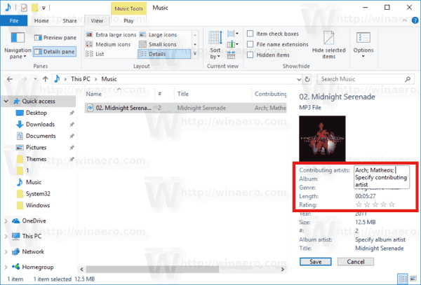 File Explorer Edit Tags In Details Pane