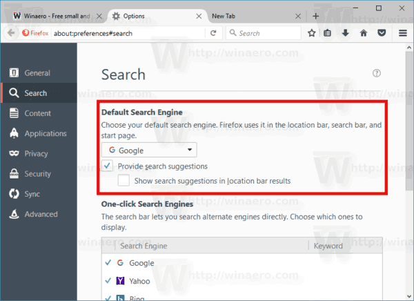 Firefox Disable Search Suggestions