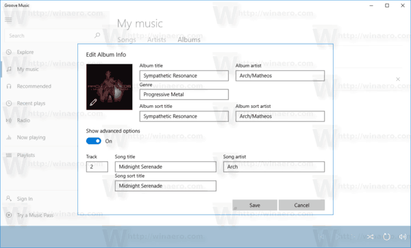 Groove Music Edit Info Dialog