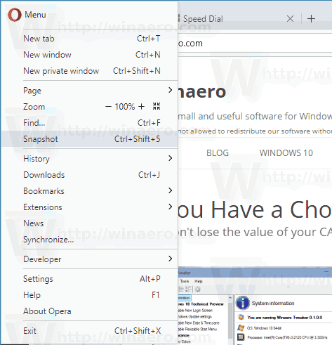 Opera Snapshot Command Menu