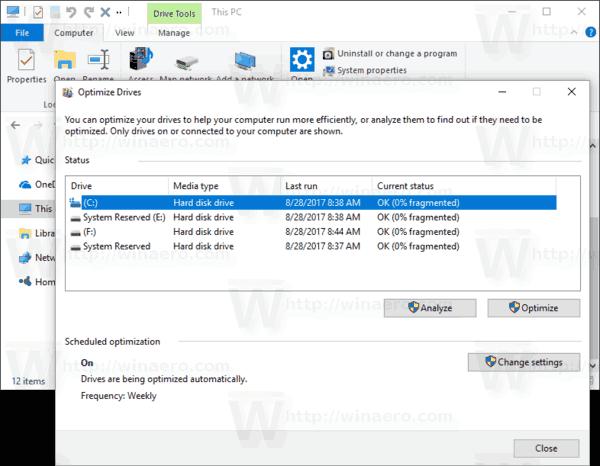 Optimize Drives Window