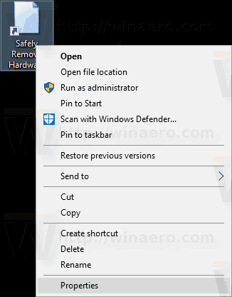 Safely Remove Hardware Shortcut Properties