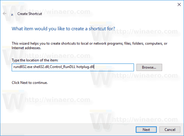 Safely Remove Hardware Shortcut