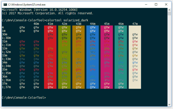 Microsoft Released Windows Console Colortool