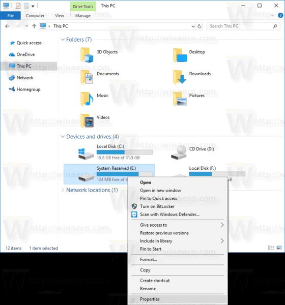 This PC Drive Context Menu