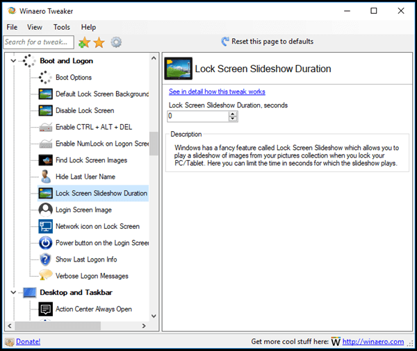 Winaero Tweaker Lock Screen Slideshow Duration