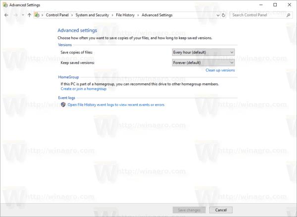 Windows 10 File History Advanced Settings