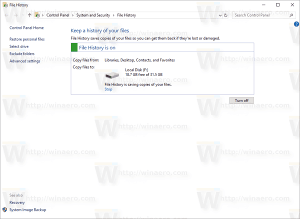 Windows 10 File History Enabled