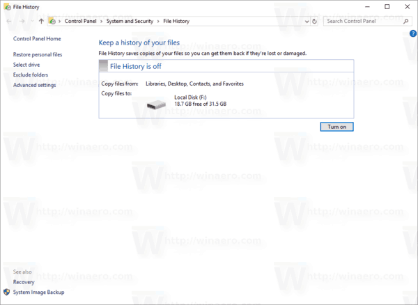 How to Enable File History in Windows 10