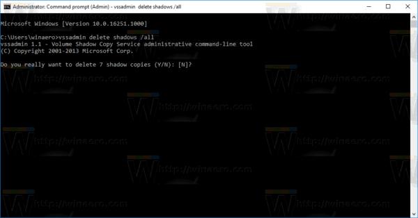 Windows 10 Delete All Restore Points Vssadmin
