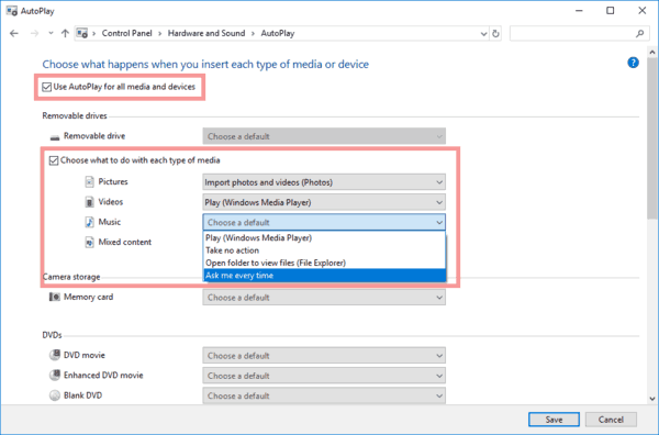 How to Disable or Enable AutoPlay in Windows 10