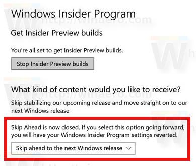 Windows 10 Skip Ahead Closed