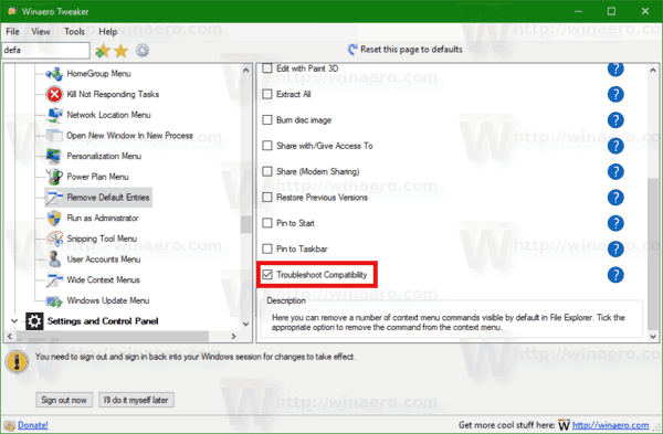 Windows 10 Troubleshoot Compatibility Context Menu Winaero Tweaker