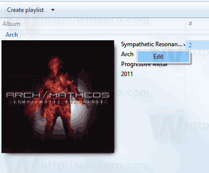 Windows Media Player Music Right Click Tag