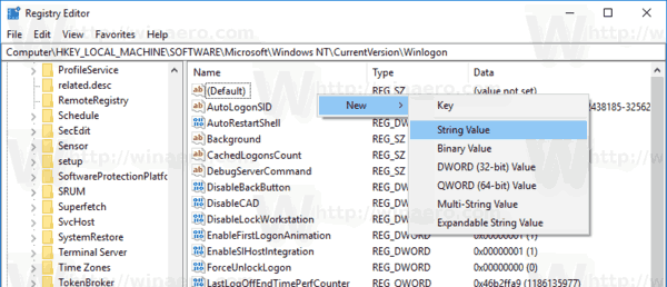 Winlogon New String Value