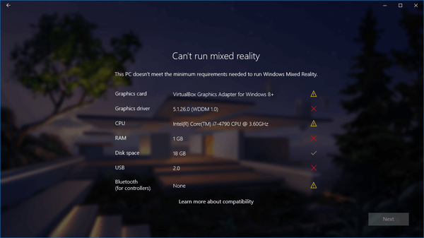 disable the mixed reality portal hardware checks in windows 10