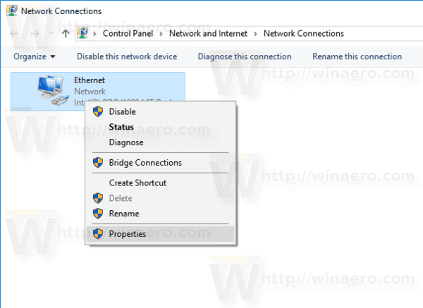 Network Adapter Context Menu