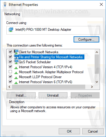 Network Adapter Properties
