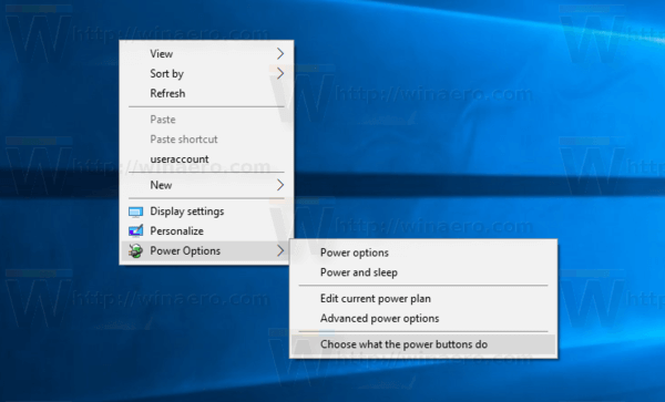 Power Option Context Menu Windows 10