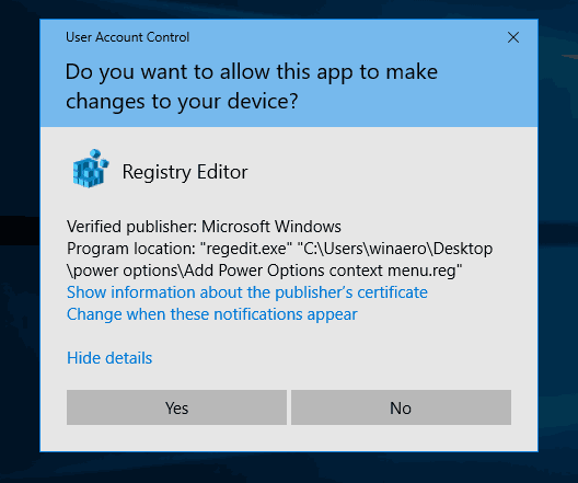 Power Option Context Menu Confirm UAC Prompt