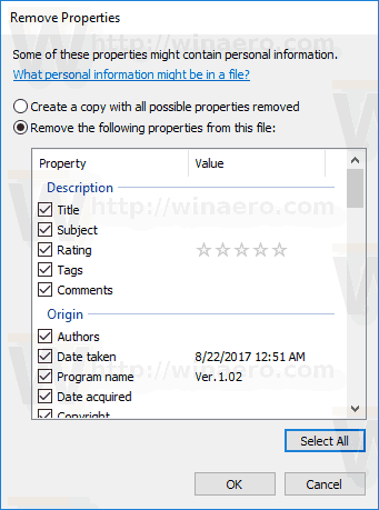 Remove All Exif Info Windows 10