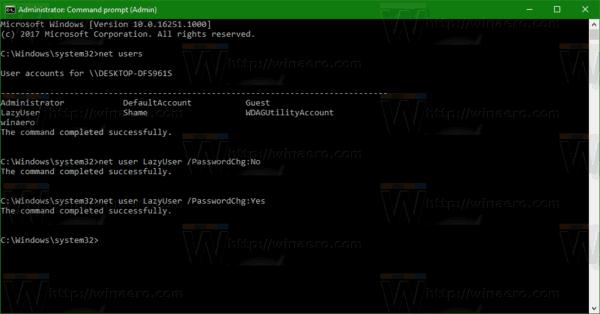 Allow User Changing Password Windows 10