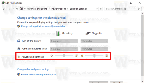 Change Brightness In Power Plan Settings Windows 10