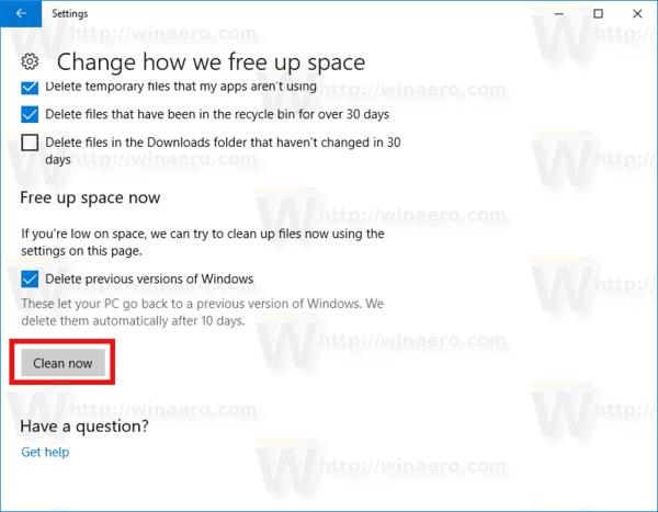 Delete Windows.old Automatically