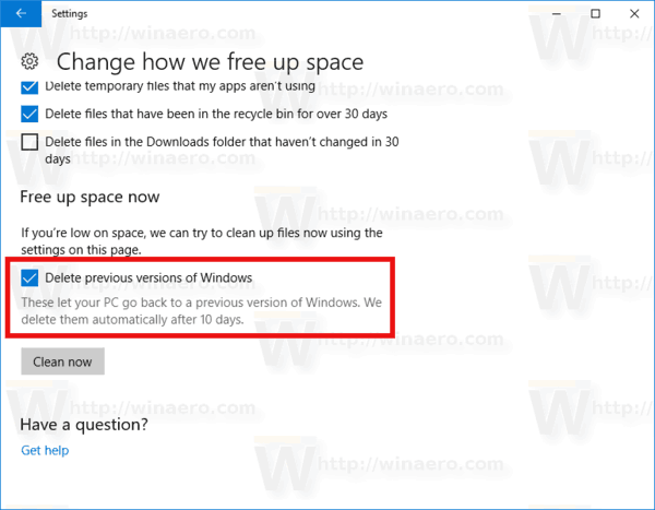 Delete Previous Versions Of Windows Automatically