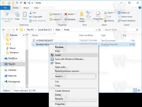 Font Install Context Menu Windows 10