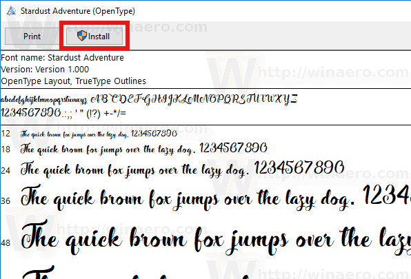 Font Preview Dialog Install Button