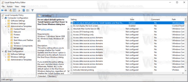 Group Policy Editor Enabled Settings Windows 10