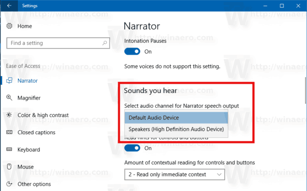 Narrator Choose Adio Channel Windows 10