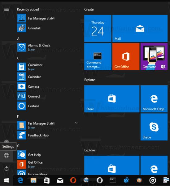 Open Settings App In Windows 10