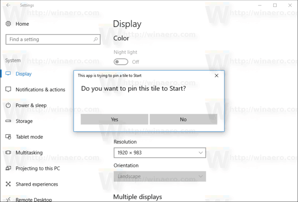 Pin Settings To Start Confirmation In Windows 10