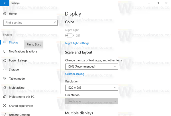 Pin Settings To Start In Windows 10