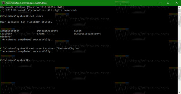 Prevent User From Changing Password Windows 10