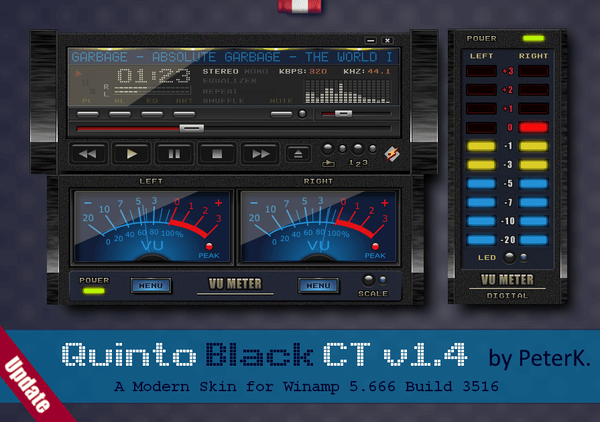 Quinto Black CT 1.4 is out – a skin for Winamp - Winaero