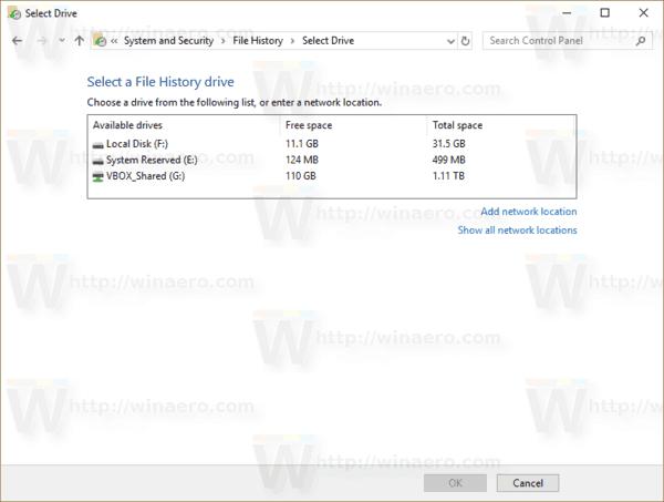 Select Drive File History
