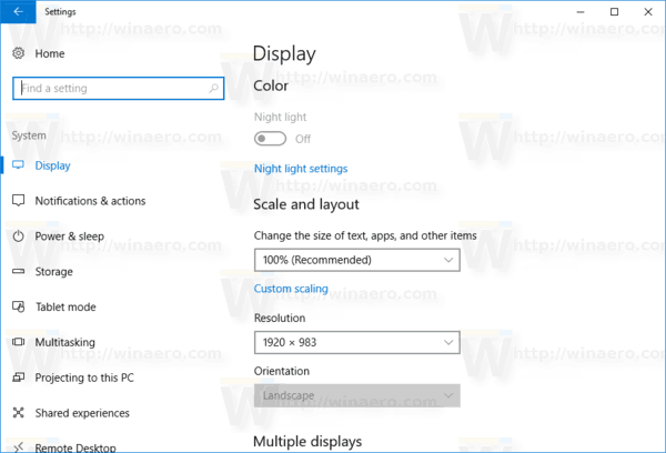 Settings Display Page In Windows 10