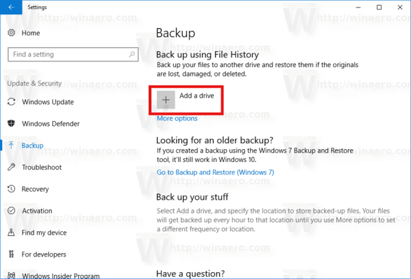 Settings Backup Add Drive
