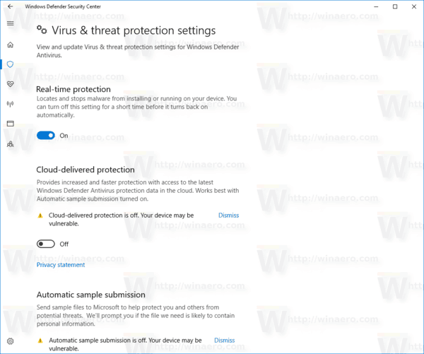 Virus Threat Protection Settings Page