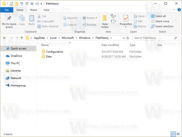 Windows 10 File History Folder