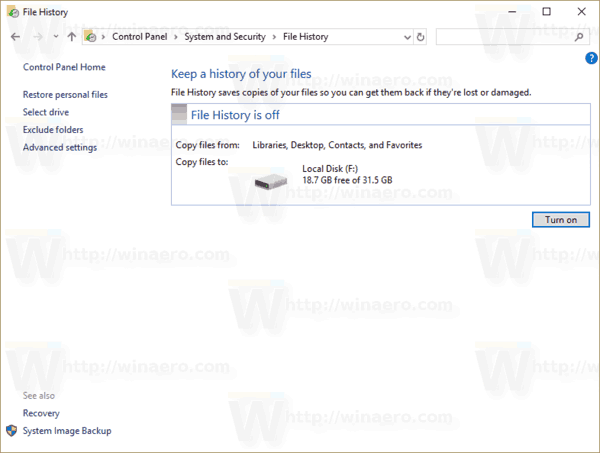 Windows 10 File History Removed 2