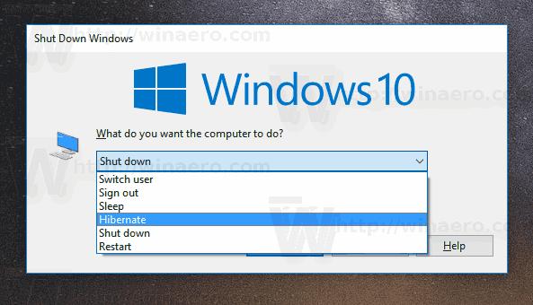 Windows 10 Hibernate PC Alt F4